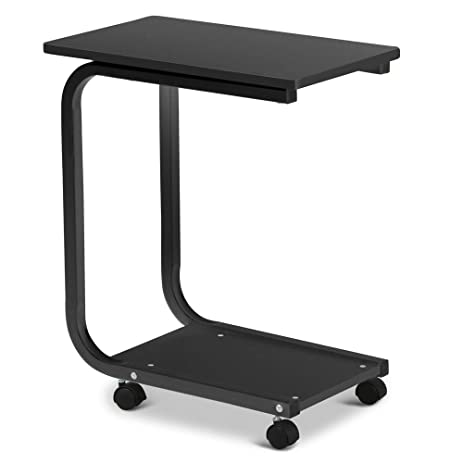 Captivating Yaheetech 2 Tier U Shaped Black Sofa Snack Table Tray, Table With Wheels  Living