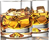 Premium Whiskey Glasses - Lead Free Hand Blown Crystal - Thick Weighted Bottom (12oz Set of 2) - Seamless Design - Perfect for Scotch, Bourbon and Old Fashioned Cocktails