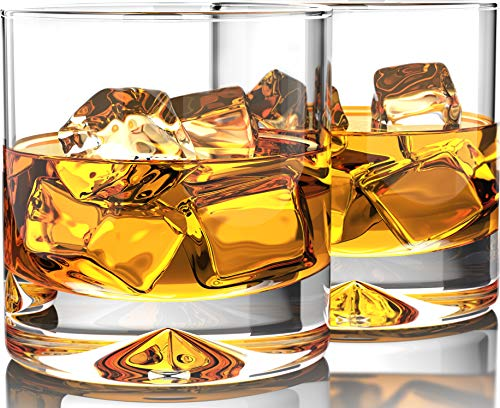 Premium Whiskey Glasses - Lead Free Hand Blown Crystal - Thick Weighted Bottom (12oz Set of 2) - Seamless Design - Perfect for Scotch, Bourbon and Old Fashioned ()