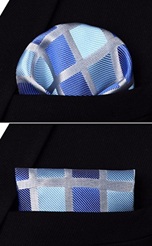 Check Pocket Necktie BIYINI Blue Handkerchief Men's Party Set Wedding Grey Tie Square amp; 4xnqR8Z6