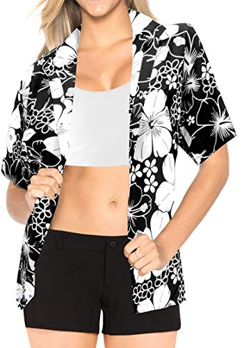 LA LEELA Likre Camp Aloha Beach Top Shirt Black 163|XXL - US 44 - 48C]()