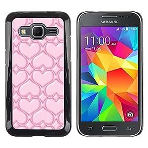 TopCaseStore / la caja del caucho duro de la cubierta de protección de la piel - Pink Love - Samsung Galaxy Core Prime SM-G360
