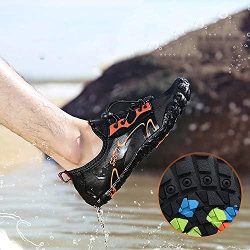アウトドアダイビング5本指フロントネクタイ女性と男性ダイビングアップストリームシューズ釣りシューズストレッチメッシュゴム素材ビーチワタリ靴水泳シューズ ポータブル (色 : Black, Size : US9.5)