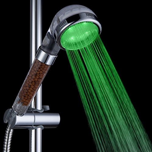 200% High Pressure Filtration Temperature Sensor control LED Shower Head for Dry Skin Hair Water Saving Ionic Handheld Showerhead free shipping