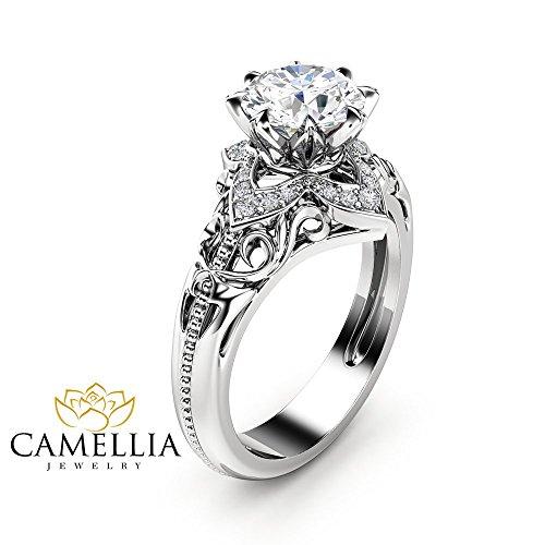 - Moissanite Estate Engagement Ring 14K White Gold Ring Estate Wedding Ring Anniversary Gift