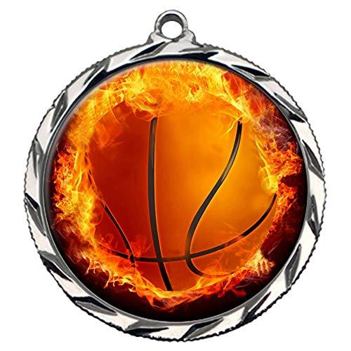 Express Medals シルバー 2位 炎 バスケットボール メダル 首リボン付き 賞 022 B07HL9ZF61  50