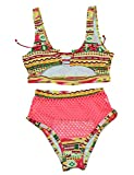 M_Eshop Women Fashion Geometric Patterns Bikini Sets mesh Cover up Pants Push-up Padded Front Lace up Bathing Suit (Red, L)