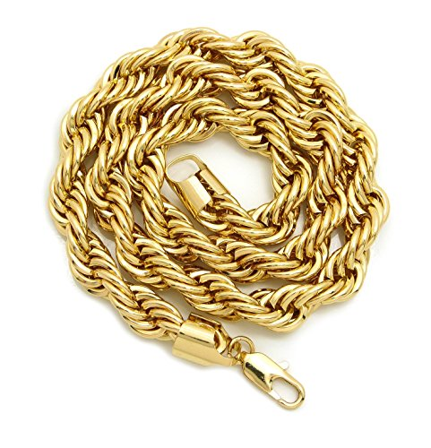 Hip Hop 80' Unisex Rapper's 10mm, 12mm Various Size Hollow Rope Chain Necklace in Gold Tone (12mm 24