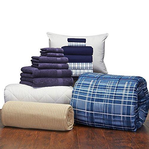 Campus Linens Guys 16 Piece Starter Pak Cameron Navy Twin XL College Dorm Bedding and Bath Set (Starter Pak)