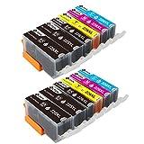 PGI-225 CLI-226 Ink Cartridges 5 Color (No Gray), Work for Pixma MX882 MX892 MG5320 MG5220 IX6520 IP4920 IP4820 Inkjet Printer 12 Pack (2 Sets + 2BK)