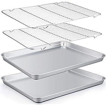 TeamFar Baking Sheet with Rack Set of 4, 20''×14''×1.2'', Half Size Stainless Steel Cookie Sheet Baking Pans with Cooling Rack Set, Non Toxic & Rust Free, Mirror Finish & Easy Clean, 2 Pans & 2 Racks