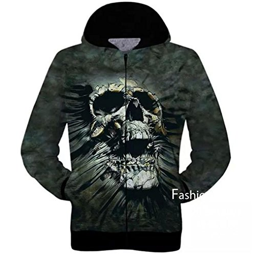 Price comparison product image D-Sun Men's 3D Skull Print Hooded Hoodie Zipper Cardigan Sweatshirt (M,  Style 4)