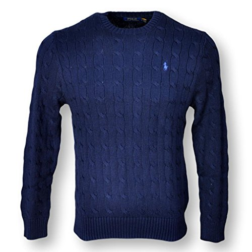 POLO RALPH LAUREN MEN'S CABLE-KNIT COTTON SWEATER, NAVY BLUE, M