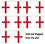 30' England String Flag Party Bunting Has 30 English 6''x9'' Polyester Banner Flags Attached, Popular For School Classroom, Special Events, Bars, Restaurants, Country Theme Parties