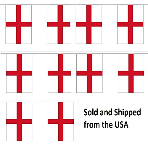 30' England String Flag Party Bunting Has 30 English 6''x9'' Polyester Banner Flags Attached, Popular For School Classroom, Special Events, Bars, Restaurants, Country Theme Parties by World Flags Direct (Image #1)