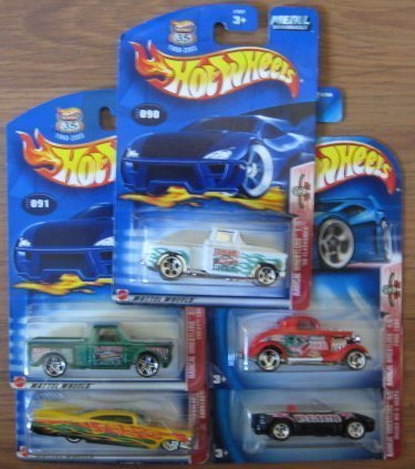 Hot Wheels Radical Wrestlers Series COMPLETE Set - '56 Flashsider, Chevy 1969, Cadillac 1959, Ford 1934 Mazda MX-5 Miata by Mattel