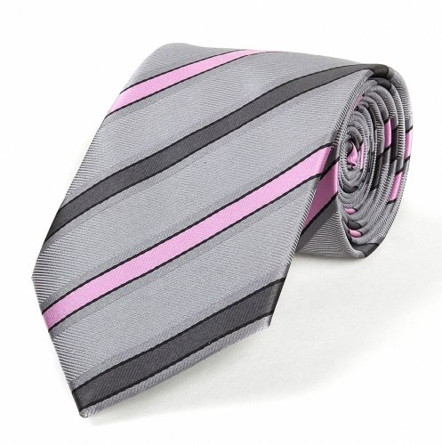 P&o Striped Pink Grey Jacquard Woven Silk Men'S Tie Necktie