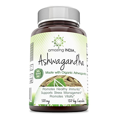 Amazing India Organic Ashwagandha 500 Mg 120 Veg Capsules * Promotes healthy Immunity Supports Stress Management and Promotes Vitality *