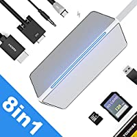 "Premium 8-1 USB Type C Hub Adapter W/ 4K HDMI, VGA, USB 3.0 Port- 5Gbps, SD/TF Card Reader for New MacBook 12"", MacBook Pro, Huawei Matebook, ChromeBook Pixel 2015 and More Type C Devices- Sliver"