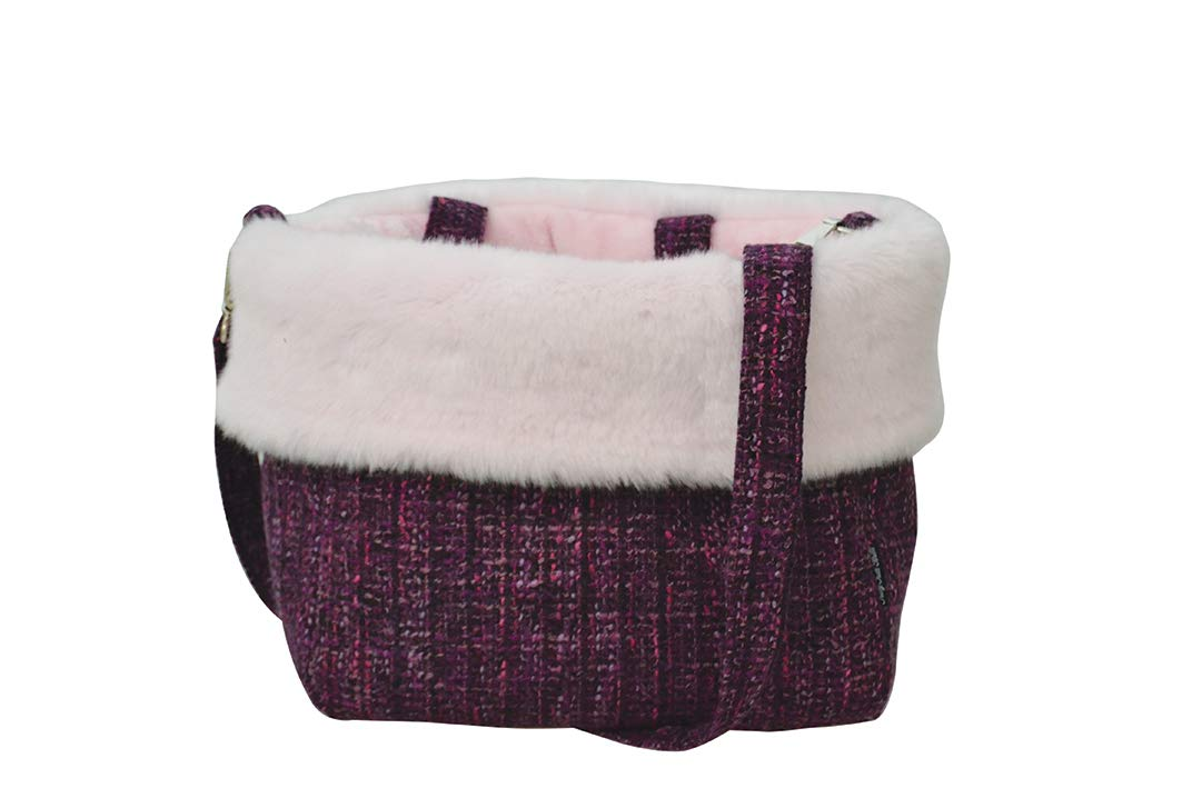 Trilly tutti Brilli Isabeau Wool Bag with Plush Interior and Faux Fur Profile, Internal Safety Hook and Removable Shoulder Strap, Purple