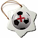 3dRose orn_157031_1 Soccer Ball with The National Flag of England on It English Snowflake Ornament, Porcelain, 3-Inch