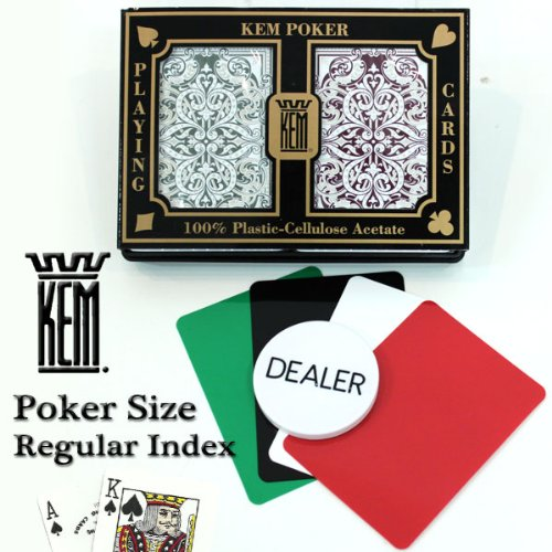 Kem Jacquard Burgundy/green Poker Size Regular Index 100% Plastic Playing Cards with Free Dealer Button, 4 Free Cut Cards and Replacement Request Form