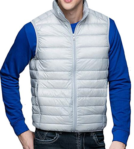 Warm Winter Jacket Puffer Vest XL Down Packable Fashion Men's EKU Gray US qnw8RFxZEt
