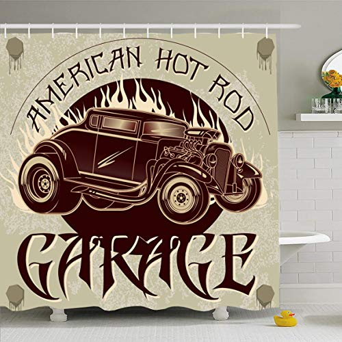 (Ahawoso Shower Curtain 66x72 Inches Speed American Hot Rod Garage Vehicle Vintage Antique Auto Car Classic Design Waterproof Polyester Fabric Set with)