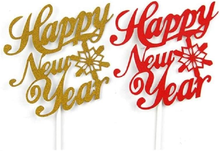 Party Favors Include Happy New Year Banners and Cake Topper Happy New Year Party Decorations Party Supplies for New Year