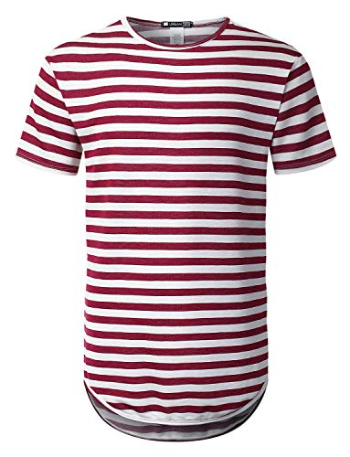 URBANCREWS Mens Hipster Hip Hop Crewneck Striped Longline T-Shirt Wine, XXL ()