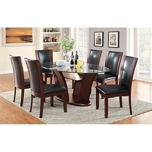 Furniture of America Waverly 7 Piece Glass Top Dining Set in Espresso