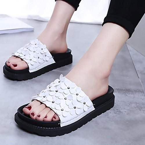 Baomabao Women Beach Shoes Flat Sandals Slip Flower Summer Resistant Slippers White fKEyfHsyIq