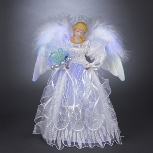 Kurt Adler 12-Inch White and Silver Fiber Optic LED Angel Treetop (Lighted Tree Angel Toppers)