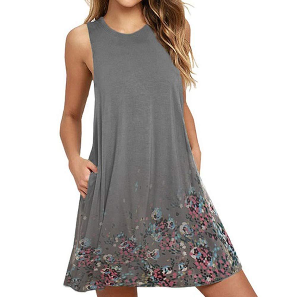 71670e5bb35 HyunQJ (S-5XL Chiffon Dress Floral Printed Sleeveless Round Collar Women's  Casual Summer Swing Dresses at Amazon Women's Clothing store: