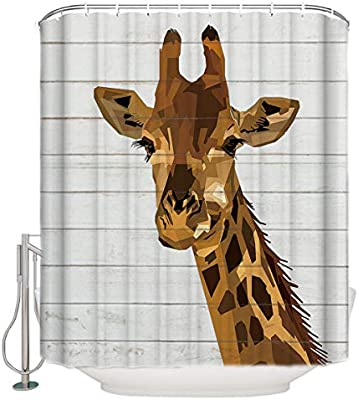 Woods Pattern Shower Curtain Fabric Decor Set with Hooks 4 Sizes