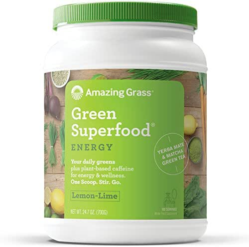 Amazing Grass Green Superfood Energy: Organic Yerba Mate and Matcha Green Tea Powder, Caffeine for energy plus One serving of Greens and Veggies, Lemon Lime Flavor, 100 Servings,24.7 Oz