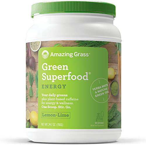 Amazing Grass Green Superfood, Energy Lemon Lime, Powder, 100 Servings, 24.7oz, Matcha Green Tea, Yerba Mate, Wheat Grass, Spirulina, Alfalfa, Acai, Greens, Vegan, Vitamin K, Probiotic - Foods Alfalfa Powder