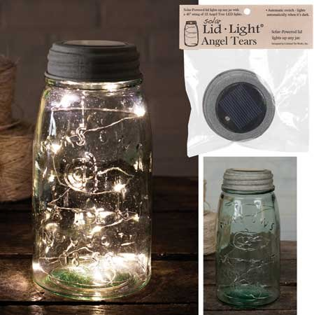 Colonial Tin Works Angel Tears Solar Light Mason Jar Lid,Deep Rustic Brown,1 count -