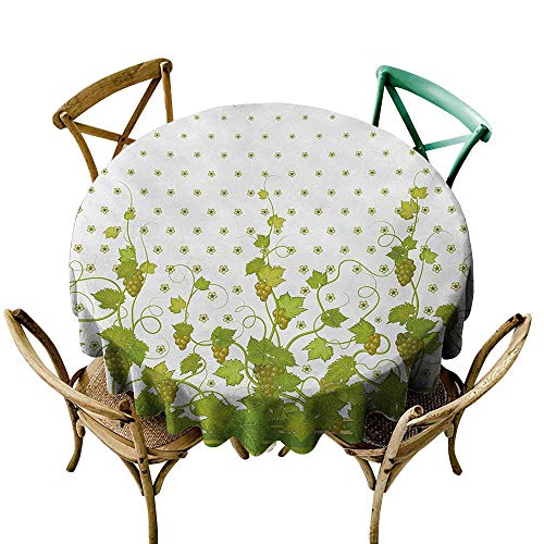 Wendell Joshua Small Round Tablecloth 60 inch Vineyard,Flowers Cluster Sherry Leaf Province Garden Retro Refreshing Tasty Countryside Rustic,Green Polyester Fabric Table Cloth