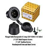 Miady 15 Amp Flanged Inlet 125V, NEMA 5-15