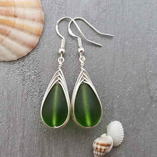 """Handmade jewelry from Hawaii, wire braided Emerald sea glass earrings,""""May Birthstone"""", sterling silver hooks, Hawaiian Gift, FREE gift wrap, FREE gift message, FREE shipping"""