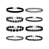 Mudder Lace Choker Necklaces Velvet Stretch Tattoo Choker Necklaces, Black, 8 Pieces