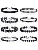 Mudder Lace Choker Necklaces Velvet Stretch Tattoo Choker Necklaces, Black, 8 Pieces
