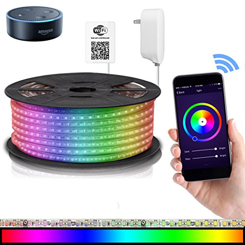 LED Strip Lights Compatible with Alexa, Maxonar Wifi LED Light Strip Kit with RGB Multicolor Waterproof IP65 Strip Light Wireless Smart Phone Controlled DIY Kit Works Amazon echo Google Home (16.4 Ft)