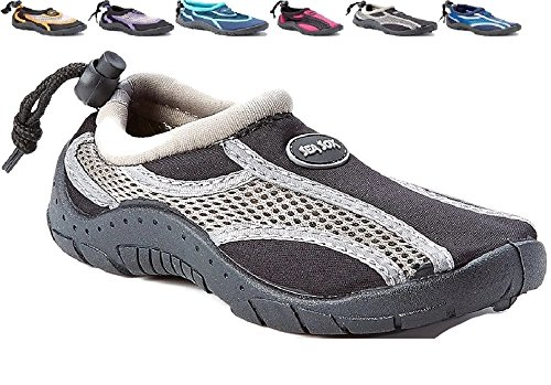 Children's Kids Water Shoes Aqua Socks Beach Pool Yoga Exercise Black/Gray Big Kid 5