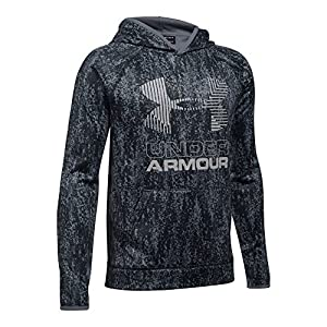 Under Armour Boys' Armour Fleece Printed Big Logo Hoodie, Black/Black, Youth Large