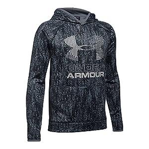 Under Armour Boys' Armour Fleece Printed Big Logo Hoodie, Black/Black, Youth Large