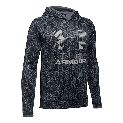 Under Armour Boys' Armour Fleece Printed Big Logo Hoodie, Black/Black, Youth Large (Big Logo Fleece Hoodie)