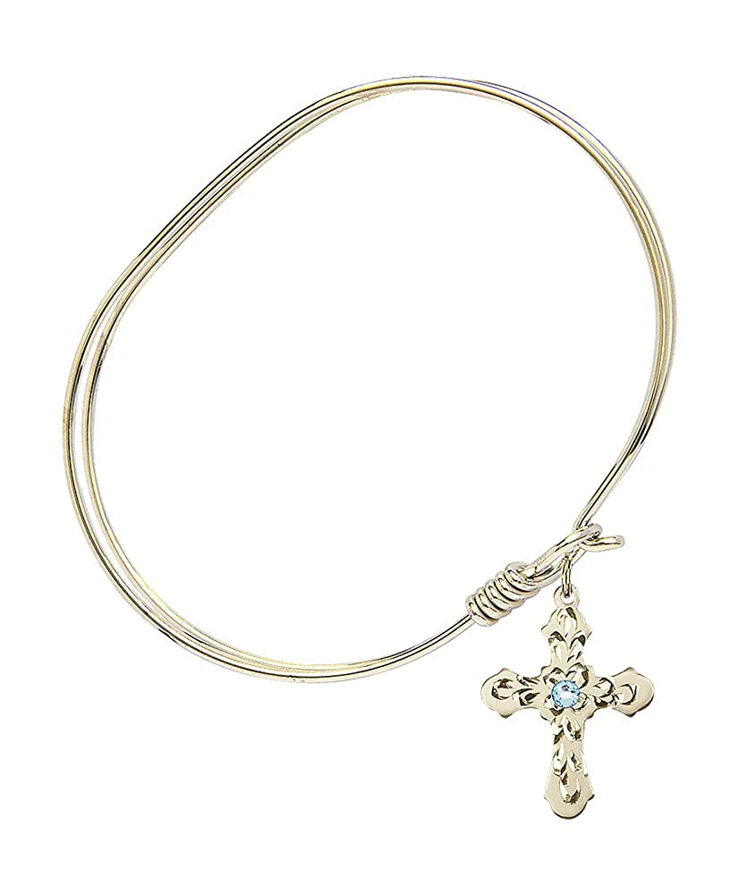 Cross Charm On A 7 Inch Oval Eye Hook Bangle Bracelet