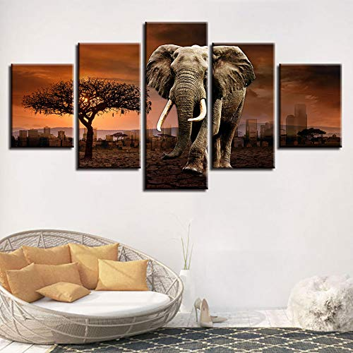 Yyjyxd Poster Modular Picture Canvas Wall Art 5 Pieces Elephant Animals Trees Sunset Scenery Painting HD Prints Frame Decor Modern Room-16x24/32/152inch,with Frame